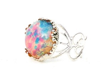 Fire Opal RING  Silver Filigree Ring Vintage Opal  Bridal Bridesmaid Gift Opal Birthstone Wedding