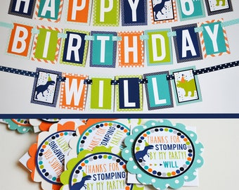 Dinosaur Birthday Party Decorations Package Fully Assembled | Boy Dinosaur Banner | Dinosaur Decorations | Modern Dinosaur Party