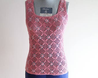 Dusty rose 1970s BOHO crochet festival sweater vest sz. XS / Small
