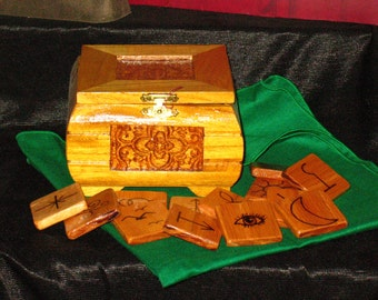 Hand Made Red Oak Witches Runes in Pine Box~Hand Stained and Varnished