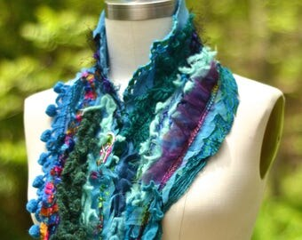 Cashmere SCARF Wrap, bohemian art to wear, turquoise textured up cycled accessory, altered blue wrap, textured scarf with ruffles, pom poms.