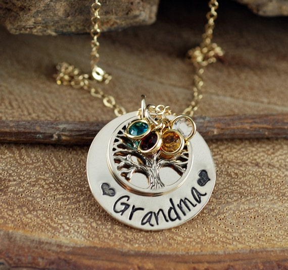 Hand Stamped GrandMother's Necklace, Family Tree Grandma Necklace, Mothers Jewelry, Birthstone Family Tree Necklace, Tree of Life Jewelry