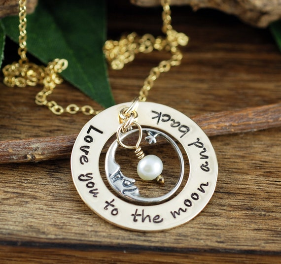 Love you to the Moon and Back Necklace, Hand Stamped Jewelry, Personalized Necklace,  Mommy Jewelry, Gold Necklace, Mommy Necklace