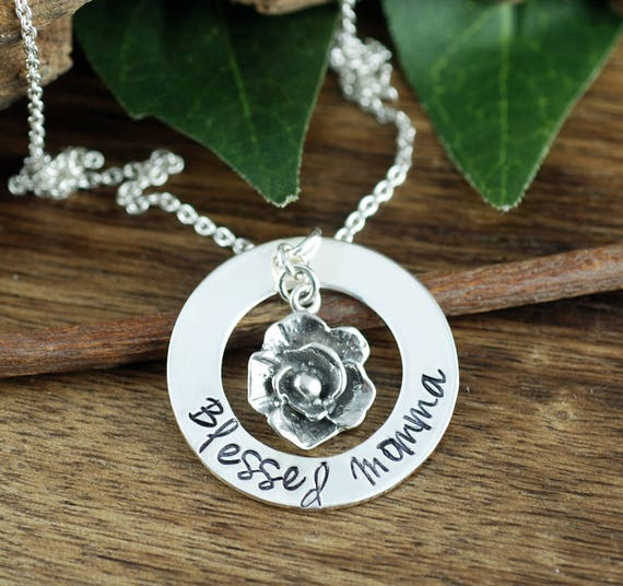 Blessed Momma Necklace, Mother's Necklace, Personalized MomNecklace, Mommy Jewelry, Mothers Charm Necklace, Rose Necklace, Mothers Day Gift