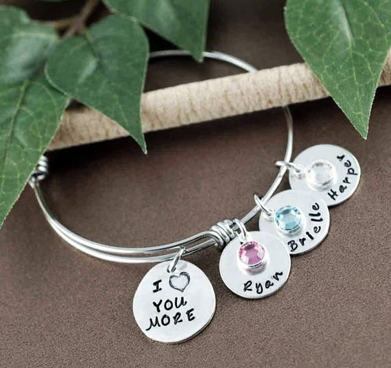 I Love You More Bracelet, Hand Stamped Name Jewelry, Personalized Jewelry, Custom bangle Bracelet, Gift for Mom, Custom Name Bracelet