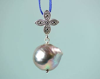 Baroque silver grey pearl pendant without chain, add a pendant, large pearl pendant, by art4ear, flameball pearl, gift for her under 25 USD