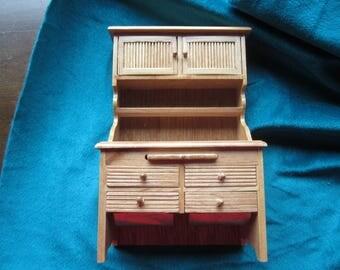 Dollhouse Decor. Light Oak Hoosier Cabinet. Retro Dollhouse Kitchen. # 320