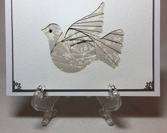Beautiful Iris Folded Dove Card, Dove Card, Sympathy Card