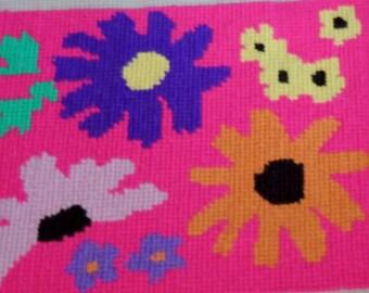 1970s Flower Power Finished Needlepoint