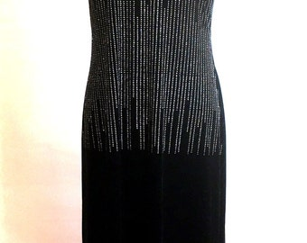 Vintage BLACK Velvet BEDAZZLED RHINESTONE Sleeveless Dress / Womens Size Medium Large / 80s Molly Malloy Evening Gown / Form Fitted Dress