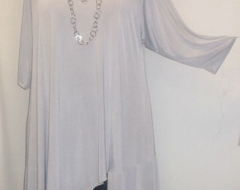 Coco and Juan, Lagenlook Plus Size Top, Asymmetric Tunic Top,  Silver Gray Knit Size 1 (fits 1X,2X)  Bust 50 inches