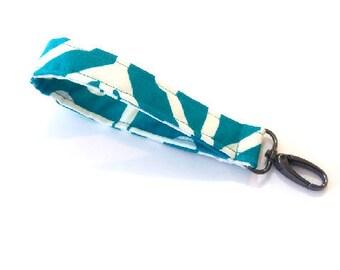 Turquoise and White  wrislet strap, keychain  wristlet, Wrist strap with swivel clip,  wristlet strap, keychain, key chain