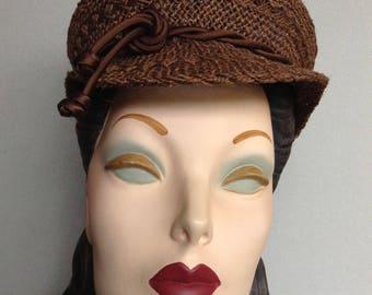 Chocolate Brown Straw Jute Newsboy Cap, Spring Summer Hat