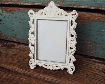 Vintage Shabby Chic Italian Picture Frame Metal Mid Century Distressed Chippy Style Ornate baroque Rococo French Provincial Antique White