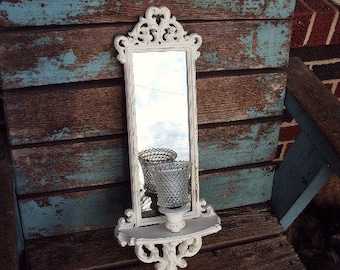 Vintage Shabby Chic Candle Holder Mirror Sconce Smokey Antiqued Smoked Glass Wall Decor Distressed French Baroque Hobnail Votive Glass Cup