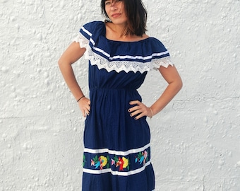 Vintage 1970s Mexican Embroidered Bird Day Dress Vintage Navy Blue Summer Dress L/XL