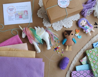 Monthly Subscription Felt Sewing Kit * 3 Months* - DIY Craft Kit Of The Month - Make Your Own Felt Animals, Dolls, and Ornaments
