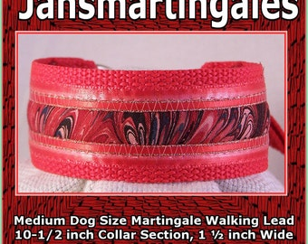 Jansmartingales, Red Collar and Leash Combination Walking Lead, Whippet, Medium Dog Size, wred118