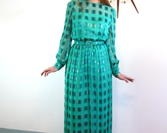 Vintage 60s dress, bright Green dress, 60s maxi dress, Nat Kaplan dress, 1960s MAD MEN, Cocktail hostess, Long silk dress, Emerald green, L