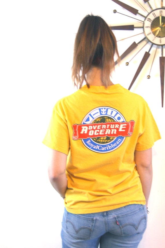 Vintage 90s T-Shirt Royal Caribbean Ocean Adventure Bright Golden Yellow Cotton Graphic Print Cruise Trip Vacation Gold 1990s Tourist Tee