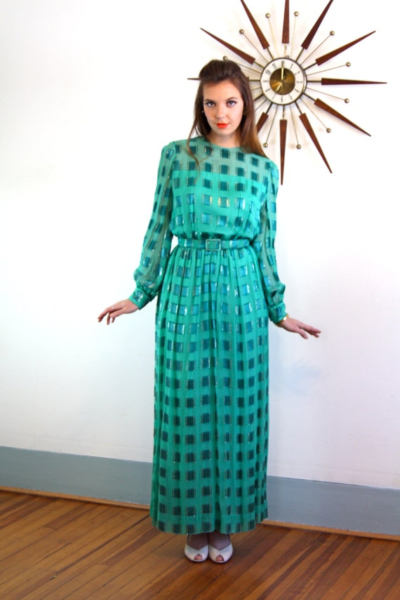 Vintage 60s Emerald Green Nat Kaplan Couture Silk Maxi Dress Embossed Geometric Metallic Print Belt Long Sleeve 1960s MAD MEN Cocktail Gown