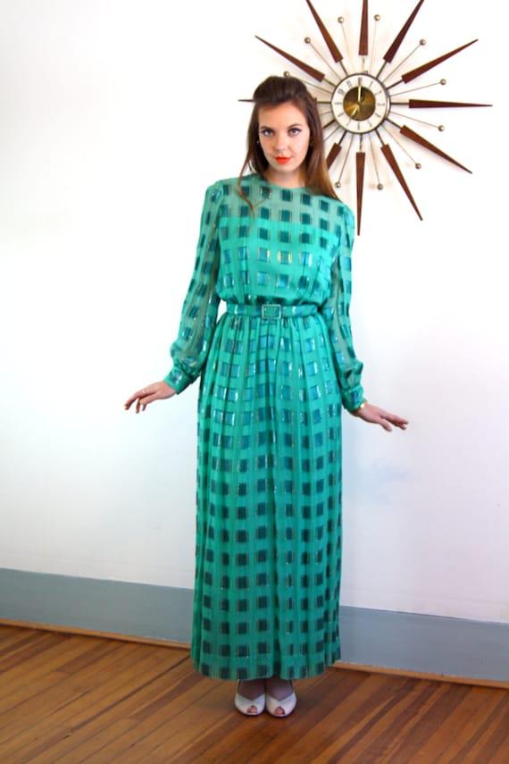 Vintage 60s dress, Emerald Green dress, 60s maxi dress, Nat Kaplan dress, 1960s MAD MEN, Cocktail hostess, Long silk dress, Jewel tone dress