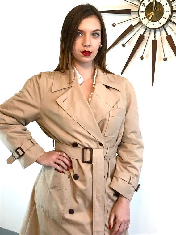 Womens trench coat, Etienne Aigner trench coat, Vintage Trench coat, Khaki trench coat, classic tan trench coat, Lined trench coat, Sz L 10