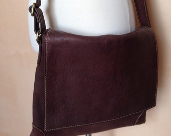 supple brown leather large messenger bag