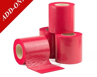 "3"" Wide Double Sided Sticky Felt Tape - Red, 6.5 Feet Long Rolls, Multiple Pack Sizes Available, Add-On Item"