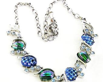 Blue and Green Molded Art Glass Necklace