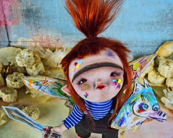 EXTRA SALE!! - Pandrapapanatas & Dupelia Gump - art doll, surrealism, bubble gum pet, chewed gum, fantasy doll, cardboard kingdom