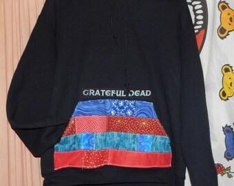 NEW Grateful Dead SYF Patchwork Large Hoodie Tie Dye Festival Hippie Shirt OOAK Bertha