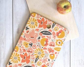 Boho Floral Wood Cutting Board // Serving Board // Round, Square, Rectangular // Three Sizes // Kitchen Decor // Betty Design // Feminine