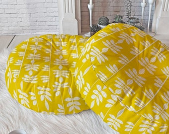 Comfy Yellow Floor Pillow // Round and Square Sizes // Dorm Decor // Modern Living // Home Decor // Abadi Sunkissed Design // Floor Cushion