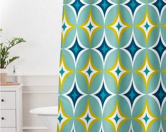 Midcentury Modern Geo Shower Curtain // Bathroom // Astral Slingshot Design // Geometric // Shower // Bathroom Decor // Retro Style // Aqua