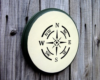 Compass Sign, Nautical Decor, Painted Wood, Compass Wall Art, Rustic Decor, Compass Rose, Round Sign, Antique White, Green, Black