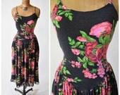 80s Betsey Johnson Black & Pink Floral Jersey Knit Dress w Plunging Back, Lace Trim // Classic Punk Label, Designer Vintage