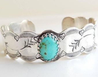 Kingman Turquoise Cuff Bracelet, Sterling Silver Cuff Bracelet - Arrow jewelry - Real Turquoise Jewelry