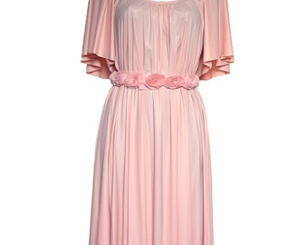 Blush Pink Flared midi dress party dress vintage style dress bridesmaid dress modern boho original