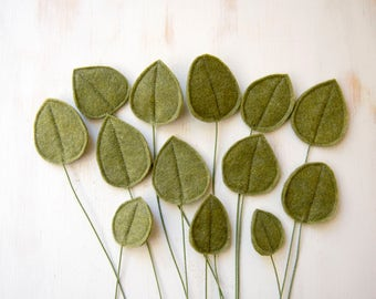 ADD-ON ITEM: single felt leaf, flower arrangements, foliage for fabric floral arrangements