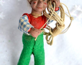 Vintage Gnome Miner Ornament - Norway Posable Elf with Rope
