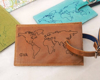 Leather luggage tag with a world map personalized, monogrammed luggage tag, Leather gift, travel gift, personalised luggage tag, mens gift