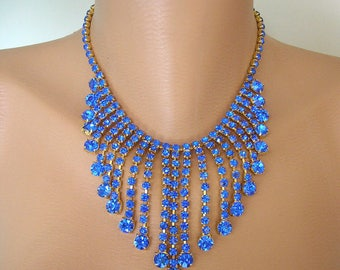 Cobalt Blue Necklace, Cobalt Blue Jewelry, Crystal Statement Necklace, Gatsby Jewelry, Rhinestone Bib, Vintage Collar, Bridal Choker, Deco