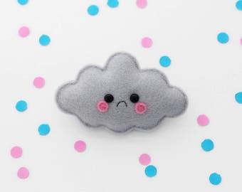 Sad Grey Cloud Felt Brooch, Handmade Accessory, Weather Pin