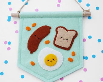 Breakfast Food Banner, Sausage Toast Egg Beans, Felt Flag, Foodie Gift