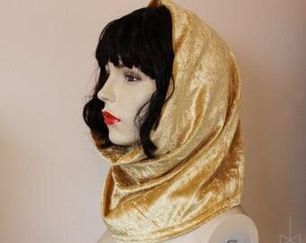 Gold 40's 50's Hollywood glamour style velvet soft snood hood scarf - gift idea