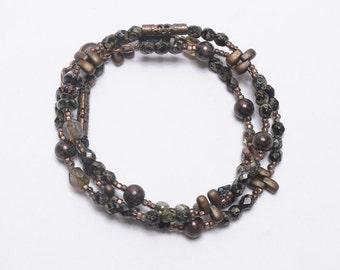 Beaded Necklace, Black Bronze, Wrap Bracelet