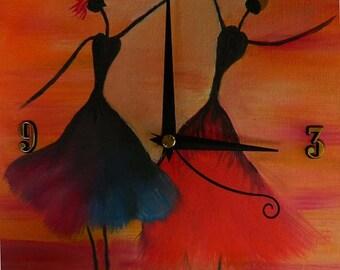 "The Dancers Original Oil Painting Clock, 9"" x 11"" x 2"", CP4"
