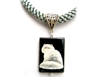 """Persian Cat Jewelry, White Cat Painting on Black Glass Pendant,  Grey Cord Necklace 18"""""""
