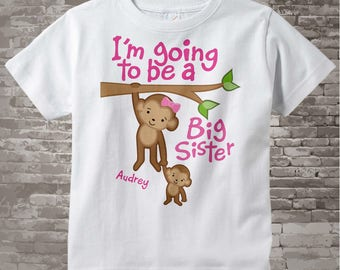I'm Going to Be A Big Sister Shirt, Big Sister Onesie, Personalized Monkey Shirt with Baby monkey 12132011a